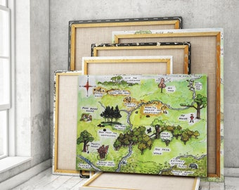 Explore 100 Aker Wood With Winnie The Pooh CANVAS GALLERY WRAPS, A Map of the Hundred-Acre Wood, Vintage Map Canvas, Shepard Illustration
