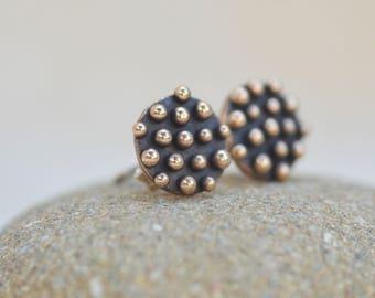 Bronze earrings with dots. Small earrings made in Italy. Hand made earrings. Lost wax earrings.