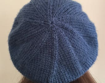 Blue Knit Tam with a Cabled Brim | Spiral Back Hat | READY TO SHIP