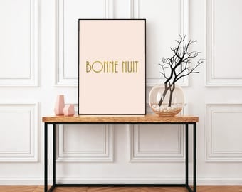 Bonne nuit , Pink and gold printable wall art, Printable quote