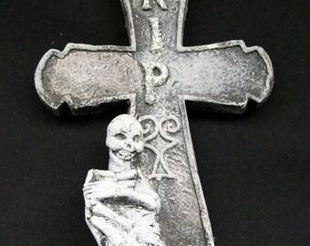 Skeleton Cross Gravestone Home Decor