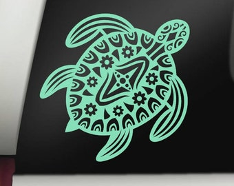 Tribal Sea Turtle Permanent Vinyl Decal, Car Decal, Bumper Sticker, Window Sticker, Cup Decal, Tumbler Decal, Phone Decal, Computer Decal