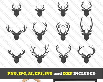 Deer head silhouette SVG collection / deer silhouette clip art / design for silhouette cameo / antlers design collection / antlers svg files