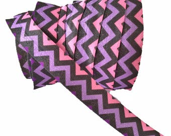"Purple Pink Chevron Stripe ~ FOE ~ Fold Over Elastic ~ Headband Elastic ~ FOE ~ Trim ~ 5/8 inch ~ 5/8"""