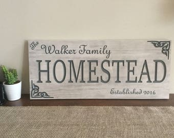 Personalized Rustic Wood Family Homestead Sign