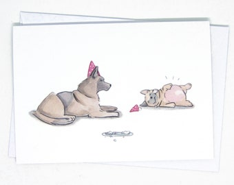 Belgian Shepherd and Pug have a party / Funny dog greeting card / Funny birthday card for dog lovers / Funny pug card / Funny dog birthday