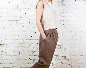 Linen pants, linen pants women, linen pants loose, linen pants crotch, linen pants baggy, linen trousers/LP0001