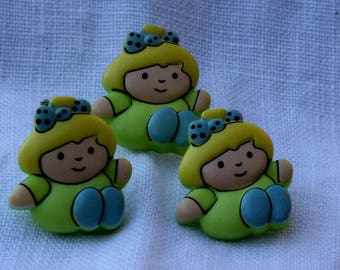 Lime green children's clothing pattern buttons girl 2 cm