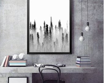 Forest Photography, Trees in Fog Nature Art Prints, Landscape Photo, Large Wall Art Tree Print, Minimalist Art Black and White forest photo
