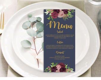 Printable Marsala Navy Wedding Menu // Wedding Menu // Floral Wedding Menu // Wedding Stationery // Burgundy Gold Navy Floral // Templett