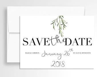 Wedding Save the Date // Greenery // Laurel Save the Date // Wedding Stationery // Custom