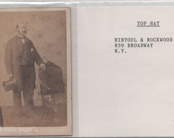Digital Download - Antique CDV Photograph - Unknown man with top hat.  Great chair.