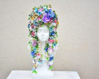 Huge flower crown romantic boho fairy tale headpiece