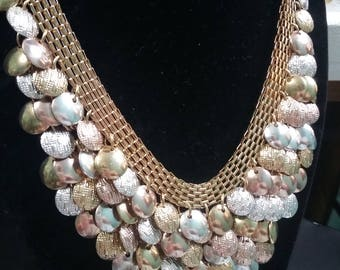 Beautiful Multi colored and textured metal mesh bib/choker/collar necklace