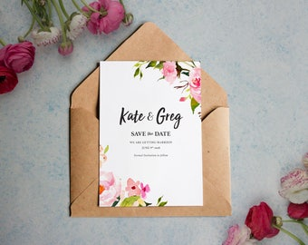 Spring Water Colour Flowers Save the Date // Invitation // invite // party // Flowers // Minimalistic // Simple