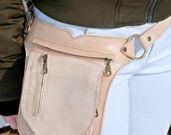 Belt Bag Leather, Waist Bag, Festival Fanny Pack, Belt Bag Women, Leather Waist Bag, Hip Bag, Steampunk, Burning Man, Hip Bag Leather