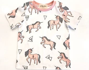 Unicorns, organic t-shirt, girls tops, organic kids shirts, kids gifts, children's gifts, pink unicorn, organic cotton, organic kids clothes