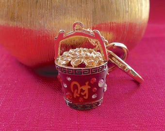 Beautiful  Diamante & Red Chinese money Barrel  Purse Ladies Handbag Key Ring Chain Lucky Gift