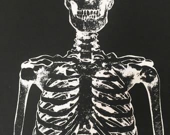 Skeleton fabric panel, Halloween fabric, black white, glow in dark, wall hanging, scary fabric, skeleton hanging, luminous fabric