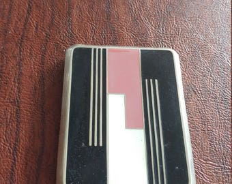 Vintage DuBarry Art Deco Vanity Case/Compact With Powder, Rouge and Lipstick, Black Enamel With Pink, White and Silver Geometric Design