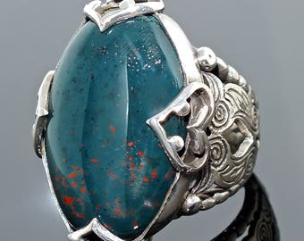 Bloodstone Mens Ring Sterling Silver 925 Unique handcrafted