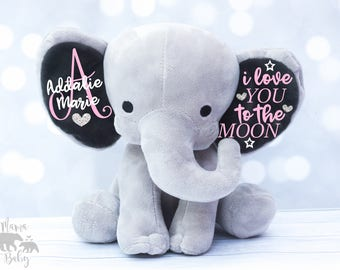 Baby Girl Keepsake Elephant, I Love You To The Moon Elephant, Monogrammed Elephant, Newborn Gift, Personalized Elephant, Birth Stat Elephant