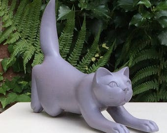 Painted wooden cat ornament, bookend or paperweight