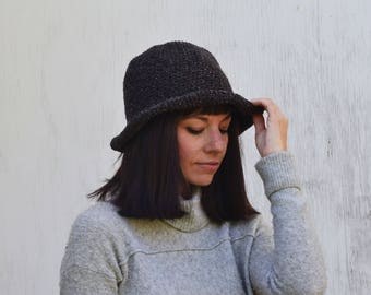Short brim Hat, Floppy brim hat, Tweed Hat, Fedora, Tweed Accessories, Charcoal Knitted Hat, 20s Cloche, knit hat