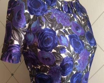 1950's Indigo Blue Rose Floral Print Dress.