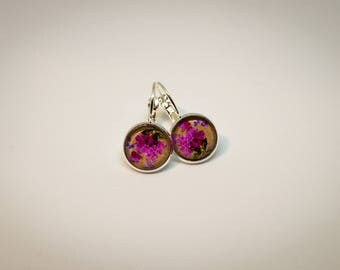Cabochon earrings, silver color, Klappbrisur