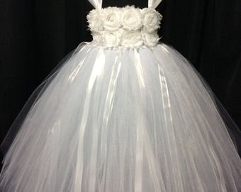 White flower girl dress, tulle flower girl dress, tutu dress for girls, tutu flower girl dress, wedding, white flower girl dress