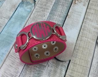 Pink Monogram Cuff, Monogram Bracelet, Monogram Leather Cuff, Off White Leather Cuff, Ivory Leather Cuff, Monogram Gift, Valentines Gift