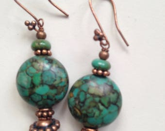 Mosaic Turquoise and Copper Earrings