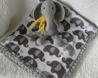 Crochet elephant doll and elephant double fleece blanket