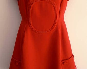 Courreges inspired 60s red dress with stitched inset large pockets and rear half belt