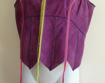 Atsuro Tayama purple pigskin waistcoat with ribbon detail