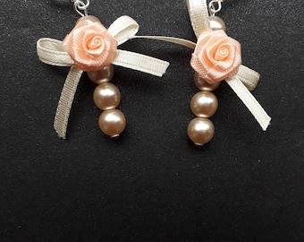 Peaches and Cream wedding earrings