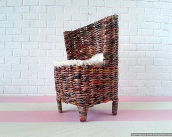 18 inch doll chairs and table set. American girl, Brownie, Madame alexander doll furniture. Wicker armchair for AG size doll. 1:3 scale.