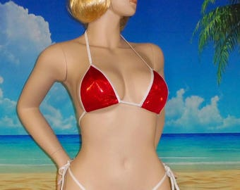 side tie g-string bikini w/standard top Red holographic S/M