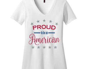 Proud to be an American Ladies V-neck T-Shirt