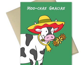 Thank you Cards - Greeting Cards - Thank you notes - Note Cards - Animal Cards - Punny cards - Puns - Muchas Gracias - Cow - Mooches Gracias
