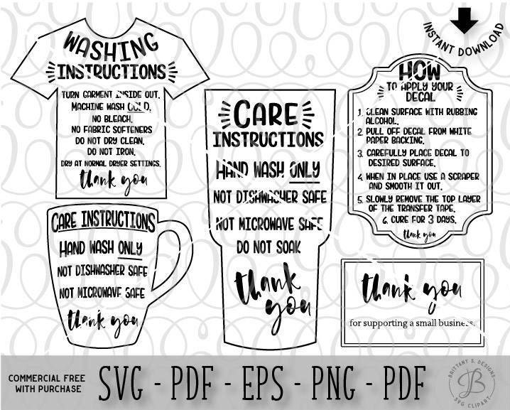 Care Card Bundle Care Instruction Cards Decal And HTV - Custom vinyl decal application instructionscare card printable care card instructions printable care