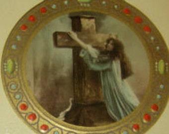 2 Religous Vintage Postcards, Girls With Crosses