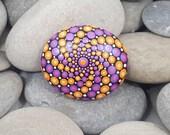 Orange Pink Painted Rock - Mandala Stone - Painted Stone - Meditation Mandala Rock - Dot Art - Chakra - Paperweight