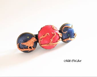 Bronze cabochon blue Sapphire Ruby Red Stone bird Barrette