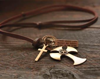 Leather Necklace Men, Mens Leather Necklace, Retro Pendent Necklace, Cross Pendant
