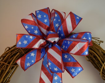 Satin Stars and Stripes Bow, Red, White & Blue Bow, Glitter Bow, Patriotic Bow, 4th of July Bow, Memorial Day Bow, Decorative Bow