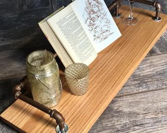 bath shelf, bath tray, bath caddy, bath board, tablet holder, industrial, reclaimed wood, gift for him, anniversary gift, gift for women