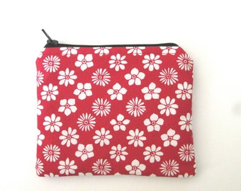 EMF Shielding Homeopathy Storage Zippered Bag (Red Floral)