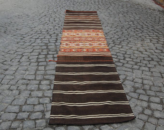 RUNNER RUG - 70 cm x 374 cm/ 2,29 x 12,27 ft / Free Shipping * VINTAGE Runner Rug - Turkish Vintage Rug - Turkish Oushak Runner Rug Kilim